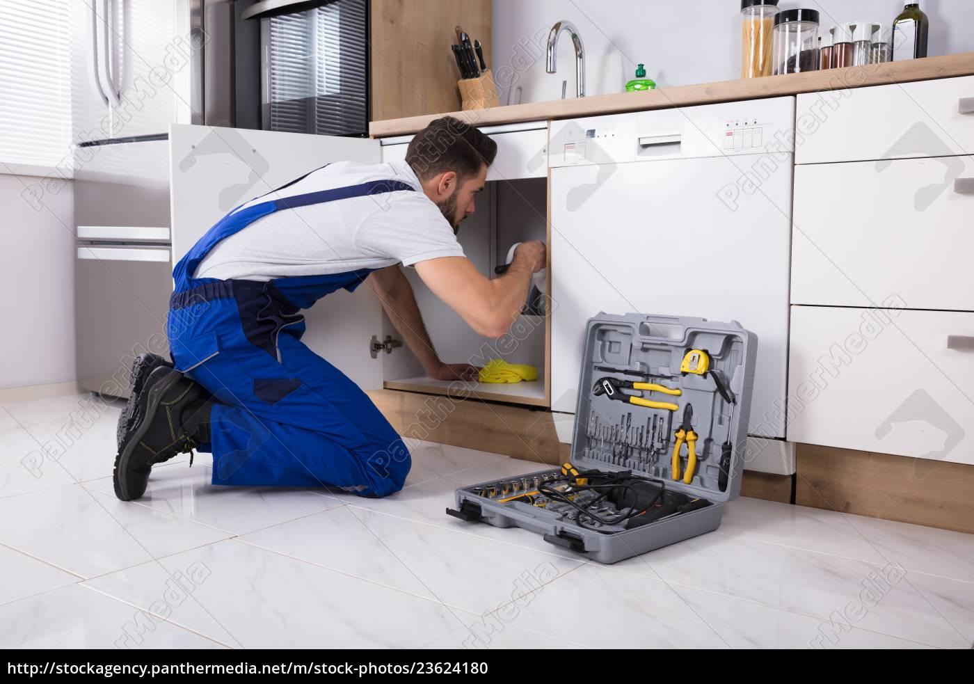 plumber, repairing, sink, pipe - 23624180