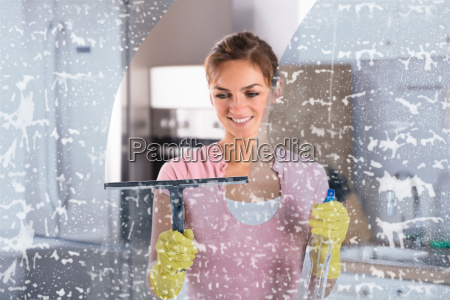 woman, wearing, yellow, gloves, cleaning, window - 23624146