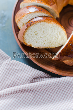 wicker homemade bread sweet wheat sliced