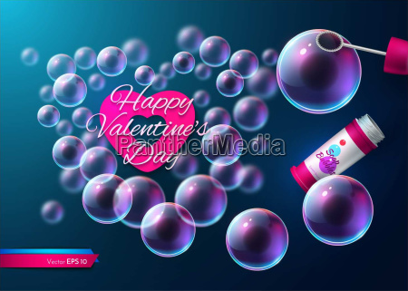 valentine day soap transparent bubbles vector