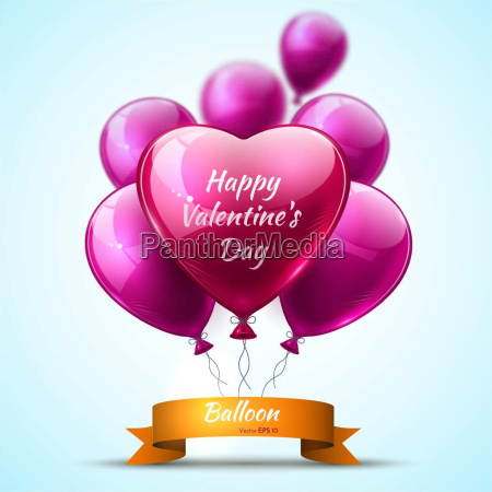 pink detailed 3d balloons valentine day