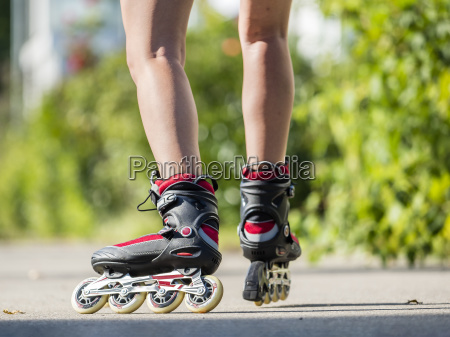 woman 20 years inline skating residential