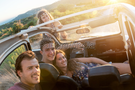 happy group on vacations