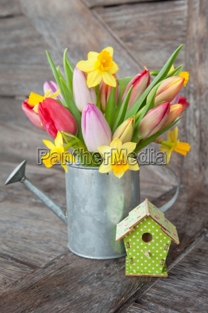 small bouquet of flowers with tulips