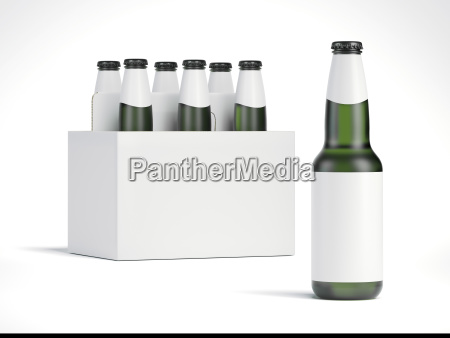 blank beer bottles and white package