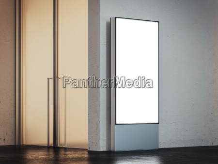 vertical banner with bright screen in
