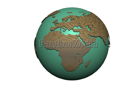 earth globe with oceans and continents
