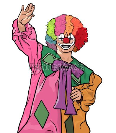 colorful clown waving