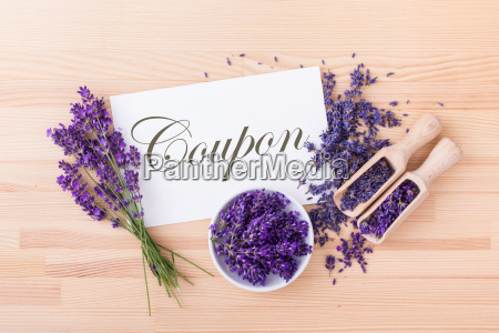 coupon with lavender flowers and wooden