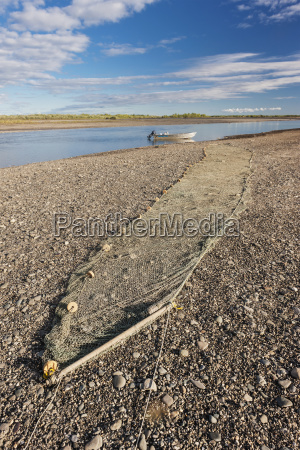 fishing nets stretched out along the