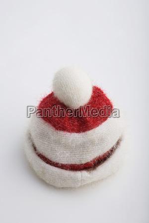 closeup of one vintage knit santa