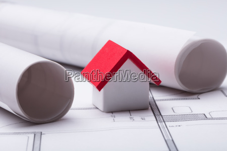 house model with rolled blueprint