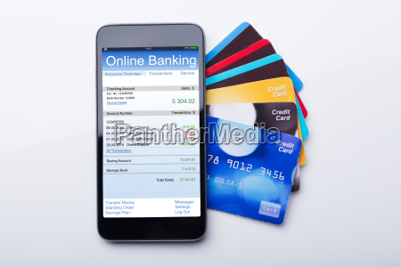 mobilephone with online banking app and