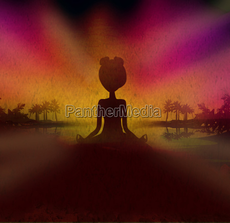silhouette woman practicing yoga on the