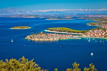 adriatic tourist destination of primosten aerial