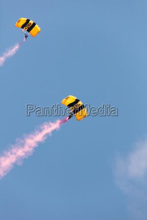 skydiving man on blue sky