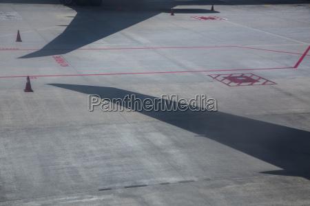 high angle view of airplane shadows