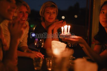 female friends celebrating birthday at home