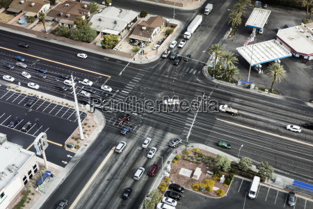 high angle view of cars moving