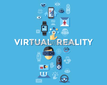 digital vector virtual augmented reality concept