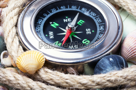 sea compass and seashells