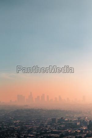 usa california los angeles smog over