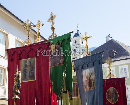 austria salzkammergut mondseeland gonfalons corpus christi