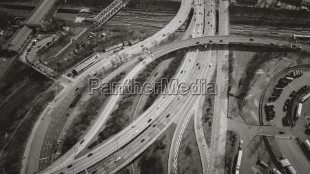 aerial view of vehicles on highways
