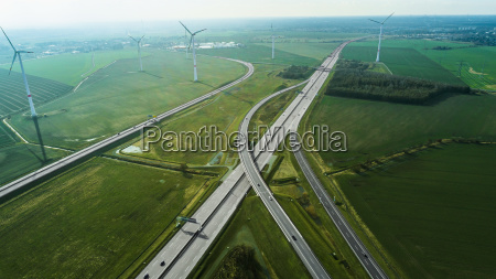 aerial view of highways by wind