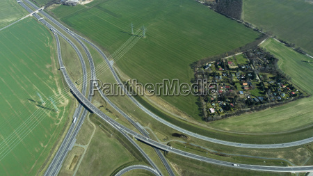 aerial view of highways by town