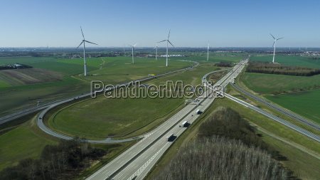 aerial view of highways and wind