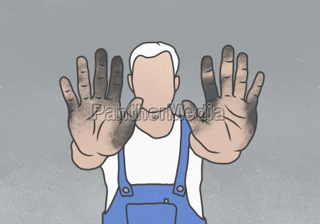 manual worker showing messy hands while