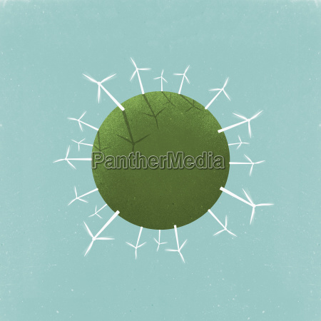 little planet image of windmills on