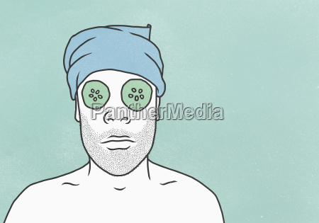 man wearing face mask and towel