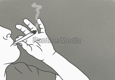 cropped image of man smoking marijuana