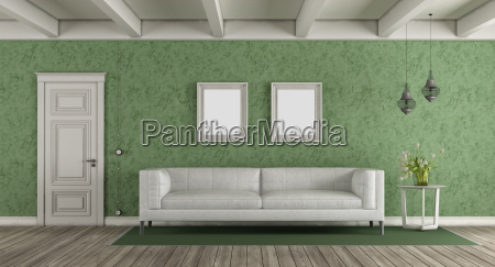 white and green classic living room