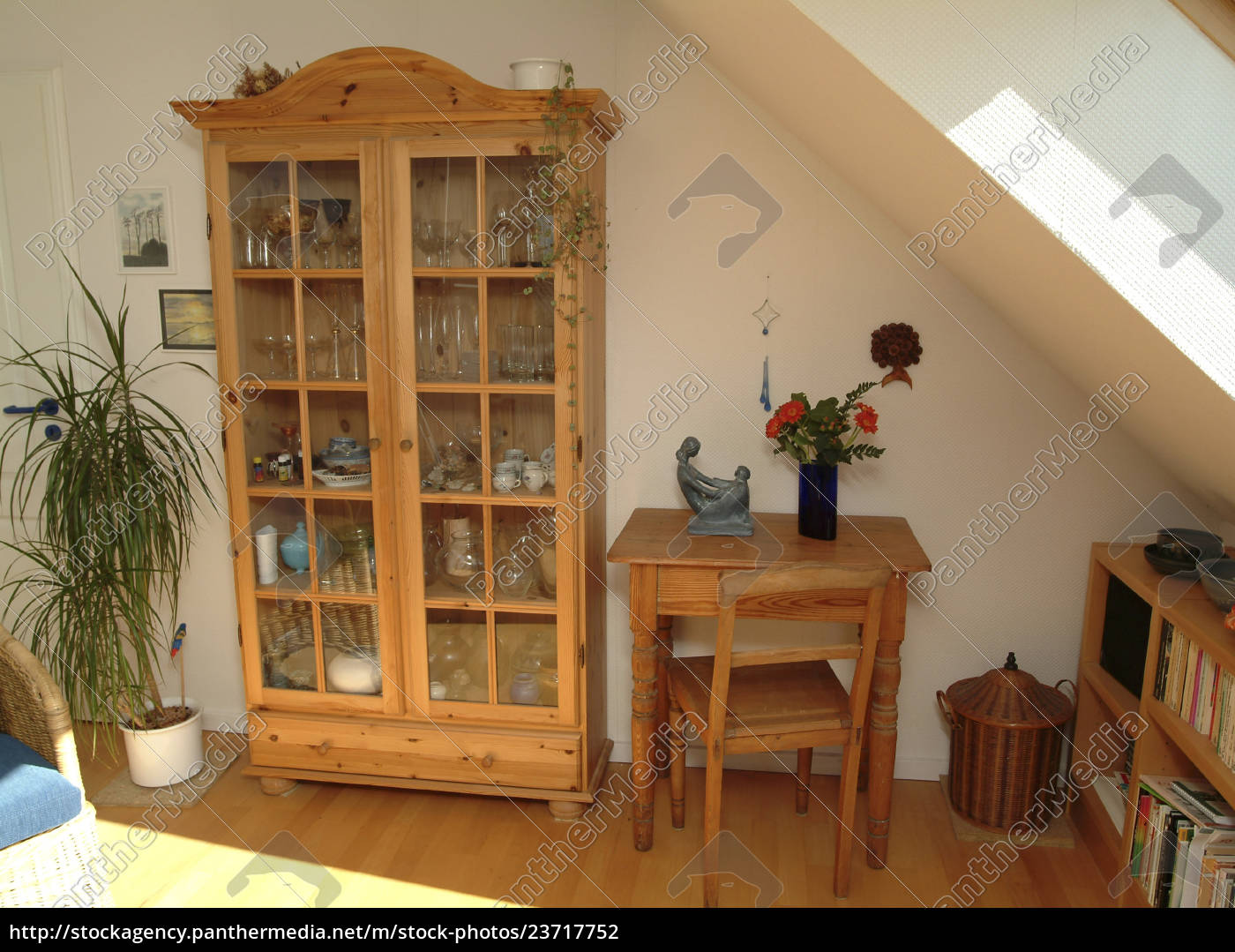 living, room, with, natural, wood, furniture - 23717752