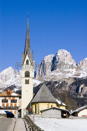church mountains winter dolomites alps deserted