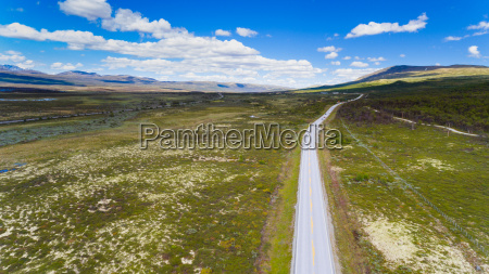 road in norway aerial shot from