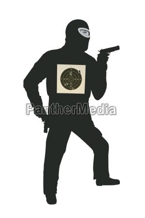freigestellte polizeischiessscheibe mit einschussloechern
