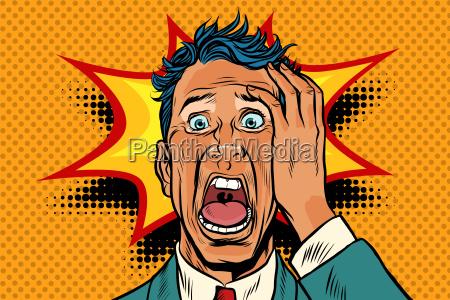 pop art panic face man funny