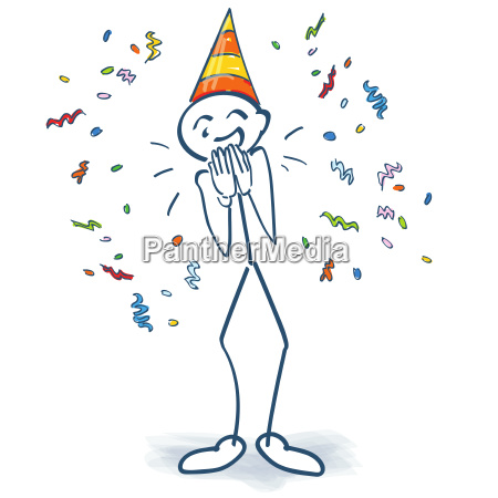 stick figure with birthday hat and