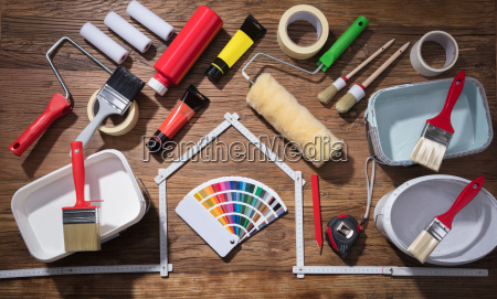 various painting tools with color palette