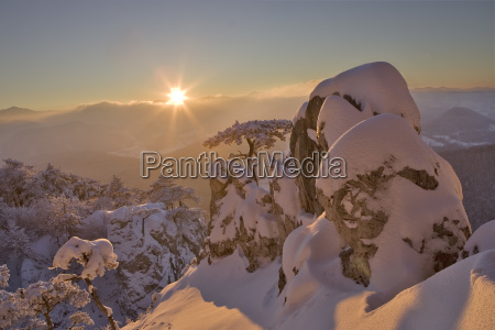 winter mood at sunset on the