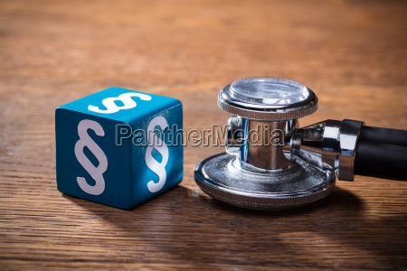 blue paragraph block and stethoscope