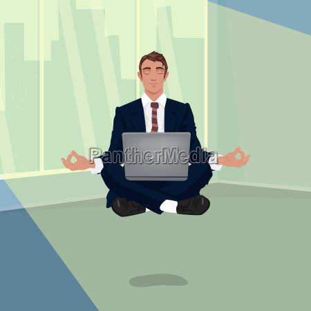 businessman hovering in office in lotus