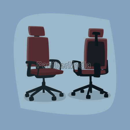 set of isolated office chairs in