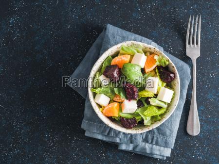 beetroot feta cheese and orange salad