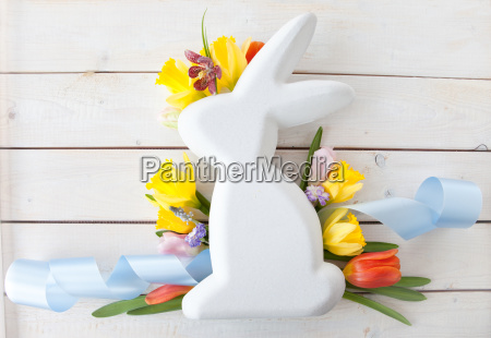 easter bunny with fresh flowers