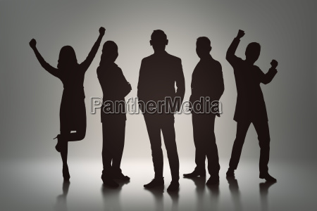 silhouette group of business people with
